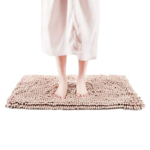 """Freshmint Chenille Bath Rugs Extra Soft and Absorbent Microfiber Shag Rug, Non-Slip Runner Carpet for Tub Bathroom Shower Mat, Machine-Washable Durable Thick Area Rugs (16.5"""" x 24"""",Beige)"""