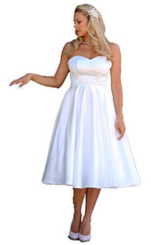Unbekannt Tee-Länge Brautkleid Satin Wadenlang Hochzeitskleid Standesamt Braut Kleid Ivory Tee Länge (34, Ivory)