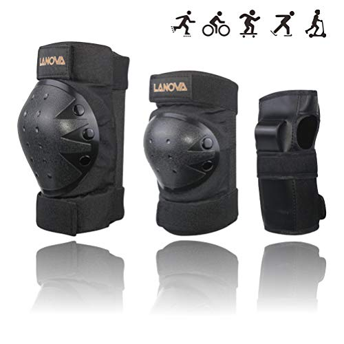 LANOVAGEAR Kids Adult Knee Elbow Pads and Wrist Guards Adjustable Safety Protective Gear Set for Cycling Skatrboard Inline Skating