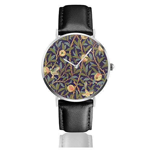 Relojes de Pulsera de Cuarzo analógico con Esfera de Granada y pájaro William Morris de Estilo Informal y Elegante para Mujer
