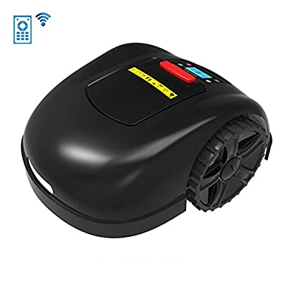 LCD Waterproof Automatic Charging Robotic Lawn Mowers, Smart WiFi Lithium-Ion Robot Lawn Mower for Garden 800-1300M², Rain Protection Obstacle Avoidance Timing Anti-Theft Lawnmower,B,6.6Ah