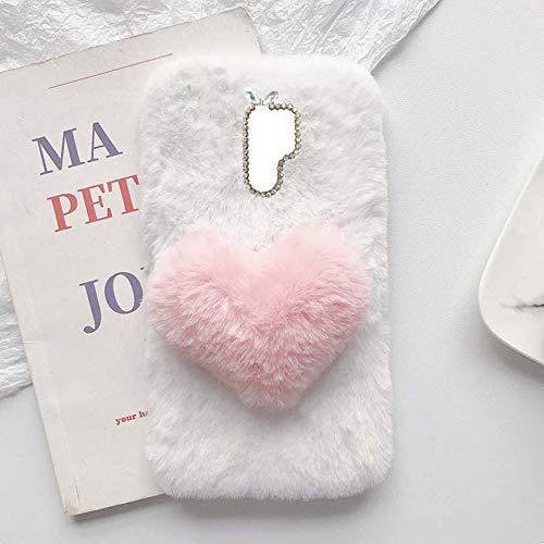 YHY Linda Funda Teléfono con Forma Corazón Felpa para Nokia 7.1 Plus Funda Teléfono Romántica Creativa Moda Blanca
