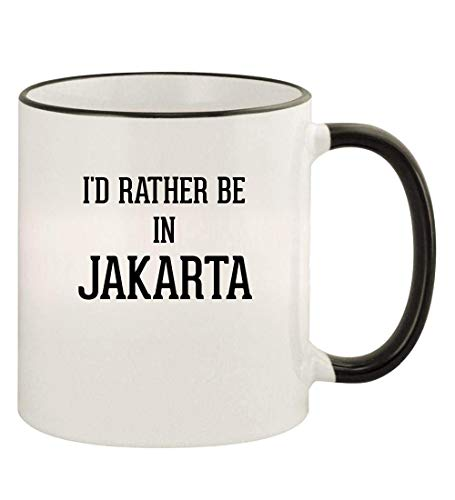 I'd Rather Be In JAKARTA - 11oz Colored Rim and Handle Coffee Mug, Black