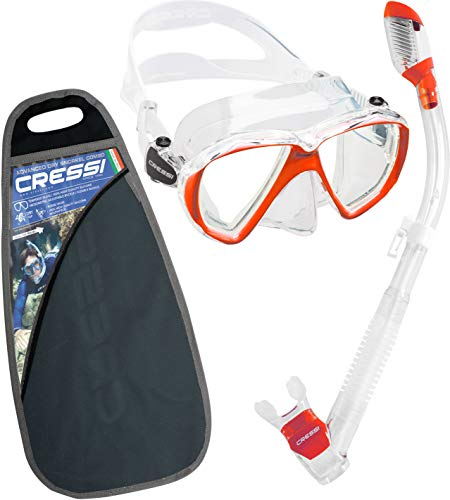 Cressi Ranger & Dry Kit máscara Tubo, Unisex Adulto, Transparente/Rojo, Talla Única