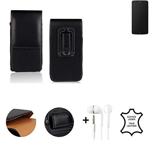 K-S-Trade® Leder Gürtel Tasche + Kopfhörer Für Alcatel Flash Seitentasche Belt Pouch Handy-Hülle Gürteltasche Schutz-Hülle Etui Schwarz 1x