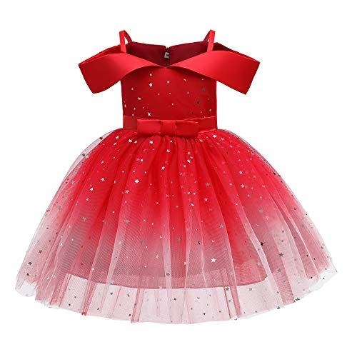 Carolilly Abiti da Sposa Bambina Abito Bambina Principessa Elegante Abito da Sera Monospalla in Paillettes Stella Vestito Cerimonia Tutu in Pizzo Abito Compleanno Festa Ragazza (Rosso, 3-4 Anni)