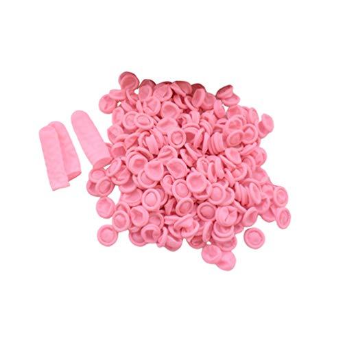 Exceart 600 Piezas Cunas para Dedos Condones para Dedos Tapas de Dedos de Látex Cubierta de Dedo Protectora de Goma para Reparación Electrónica Hospatil Hecha a Mano (Rosa)