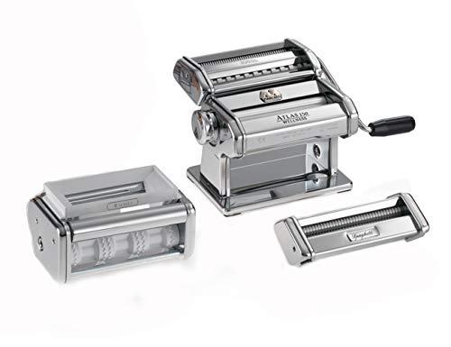 Marcato PastaSet Máquina para Pasta Manual con Accesorios Incluido, Acero Cromado, Plata, 20 X 20.7 X 15.5 Cm