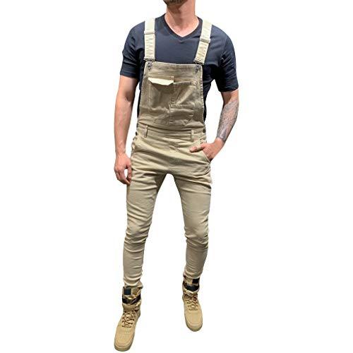 Salopette da Lavoro Uomo Militare Camuffamento VJGOAL Salopette di Jeans Uomo Relaxed Fit Jeans Denim Slim Tasche Overall Tuta Intera Denim Casual Slim Fit Reggicalze Pantaloni Casual da Elasticizzato
