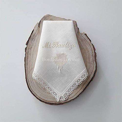 Pañuelo/Paño de Bautizo Personalizado con Nombre y Fecha Bordado Mod. Concha