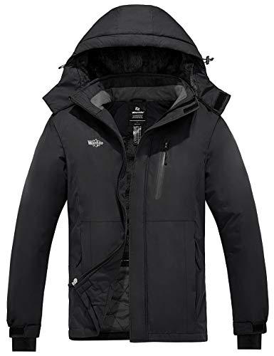 Wantdo Men's Waterproof Ski Jacket Warm Winter Rain Jacket for Hiking Black L