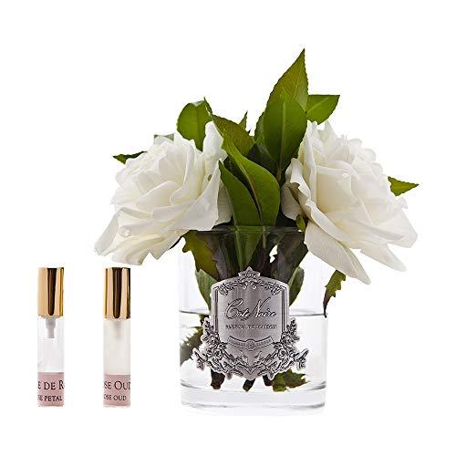Cote Noire Scented Floral Dispaly Englisch Rose Elfenbein in klaren Vase