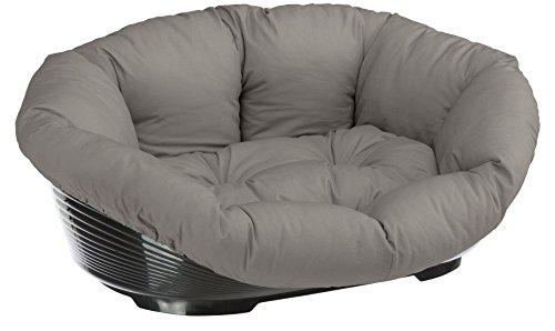 Ferplast 70228099 Kunststoffbett Sofa für Hunde und Katzen mit herausnehmbarem Baumwollbezug, Grau, 85x62x28,5 cm