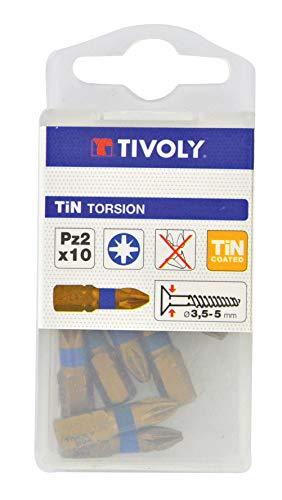 TIVOLY 11522260200 - Juego de 10 puntas de destornillador para tornillos Pozidriv Pz2