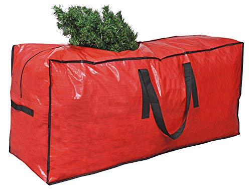 """Primode Christmas Tree Storage Bag   Fits Up to 9 Ft. Tall Disassembled Holiday Tree I 65"""" x 15"""" x 30"""" Tree Storage Container   Protective Zippered Artificial Tree Bag with Handles (Red)"""
