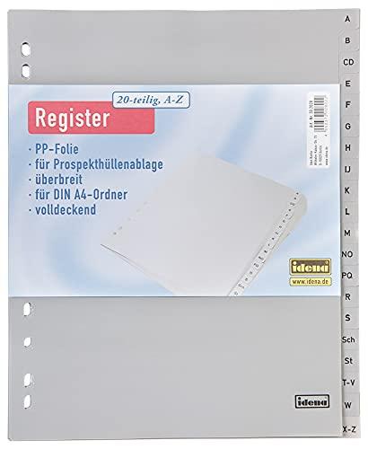 Idena 302028 - Register A - Z, für DIN A4, mit Überbreite, aus Kunststoff, 20-teilig, volldeckend, grau, 1 Stück