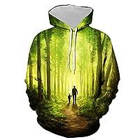 メンズプルオーバーフード付きグラフィックスウェットシャツ、森の中を歩く父と息子の背景面白いプリントパーカー、恋人たちティーンユニセックスフード付きルーズデイリーカジュアルスポーツウェア (Color : Multi-colored, Size : XXL)