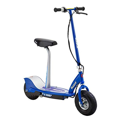 Razor E300S Durable Adult & Teen Ride-On 24V Motorized High-Torque Power Electric Scooter, Speeds up to 15 MPH with Brakes, Pneumatic Tires, and Removable Seat, Blue
