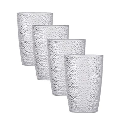 4-er Set 350ml Kunststoff Gläser, BTONGE Acryl-Trinkgläser Unzerbrechlich Plastikbecher Trinkbecher Teetasse für Camping Wasser Kaffee Milch Whisky Wein Wodka Cocktail