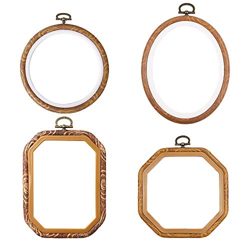 4 Pcs/set Embroidery Hoops Imitated Wood Plastic Display Frame Reusable Circle Oval Rectangular Octagonal Cross Stitch Hoop Ring for Art Craft Sewing and Hanging Ornaments Home Decor