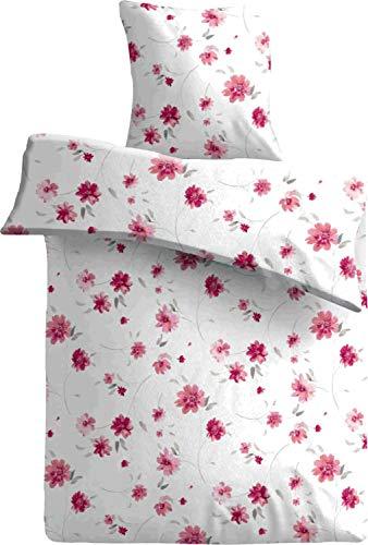 one-home 4 teilig Blumen Bettwäsche 135x200 cm geblümt Spring rot weiß Mikrofaser Set
