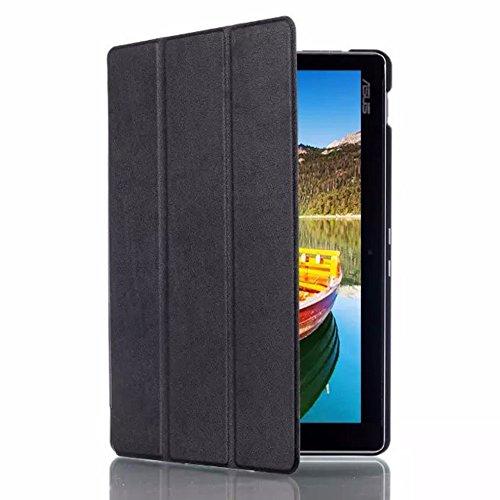 Lobwerk Hülle für Asus ZenPad 10 Z300 10.1 Zoll Schutzhülle Etui Tablet Tasche Smart Cover Book Cover Folio Skin Zen Pad Z300c Z300cg Z300cl Z300m (Schwarz) NEU