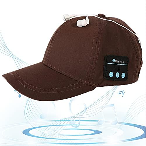 Gorro Bluetooth, Gorra de Música Bluetooth, Gorra de Béisbol Sonido HD, Espera Larga, Sombrero para Sol, Regalos Cumpleaños para Amigos, Familias,Marrón