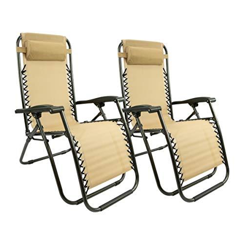 MaxxGarden Lot de 2 chaises Longues, Pliables et réglables, idéales pour Le Jardin, Le Balcon, Le Camping, la terrasse (Taupe)