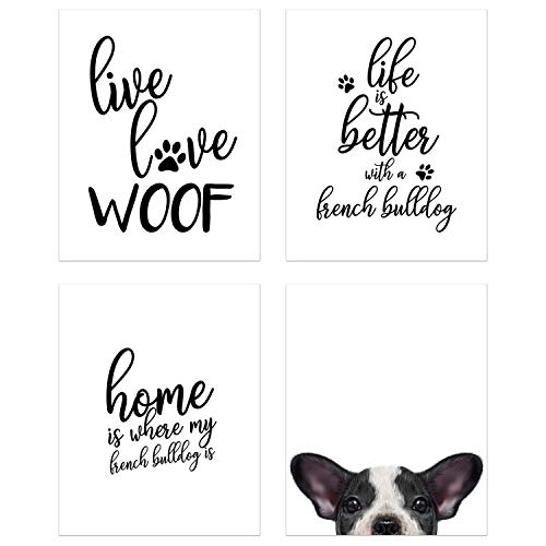 Summit Designs French Bulldog Wall Art Décor Prints – Set of 4 (8x10) Unframed Poster Photos – Dog Puppy Quotes