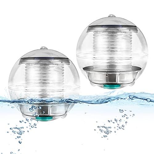 Coquimbo Schwimmende Pool Licht Solar Poolbeleuchtung Wasserdicht Schwimmende Lampen Teichbeleuchtung Farbwechsel RGB Lampe Pool Zubehör für Garten, Pool, Baum, Teich, Schwimmbad (2 Stück)