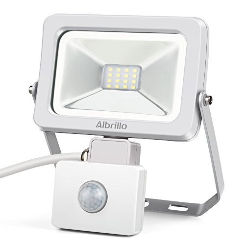 Albrillo LED Security Lights Motion Outdoor, 10W Motion Sensor Flood Light 100W Equivalent, IP54 Waterproof Security Light, 800lm Daylight White 6000K