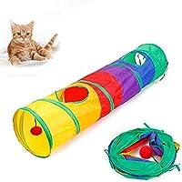 ボールとPeekの穴の子猫の玩具携帯用インタラクティブキャットのおもちゃ楽しいボールゲームの猫子犬キティの子猫ウサギとカラフルな折りたたみ猫のトンネル