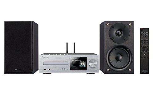 Pioneer X-HM76(SW) Système Micro Hifi, pour CD, Lecture MP3 (Wifi, Bluetooth, Services de streaming, Multiroom, Front USB/Audio in, 50 W/canal), Argent/Noir