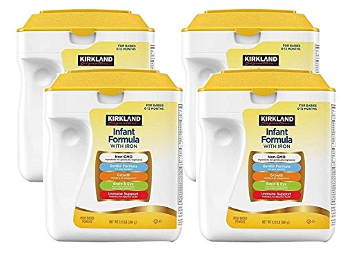 Kirkland Signature Non-GMO, Gentle Infant Formula With Iron & 2'-FL HMO, for Immune Support, Baby Formula, Powder 34oz (4 Pack)