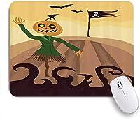 VAMIX マウスパッド 個性的 おしゃれ 柔軟 かわいい ゴム製裏面 ゲーミングマウスパッド PC ノートパソコン オフィス用 デスクマット 滑り止め 耐久性が良い おもしろいパターン (かかしハロウィーンテーマ漫画、死の旗を振るとコウモリを飛んで)