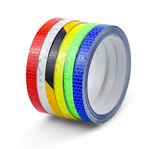 NATEE 6 Rolle Reflektorband Selbstklebend, Reflektor Klebeband für Fahrrad Motorrad Sicherheit Warnklebeband Sicherheit Markierung Band, 1cm x 8m, Gelb, Blau, Rot, Grün, Weiß, Schwarz+Orange