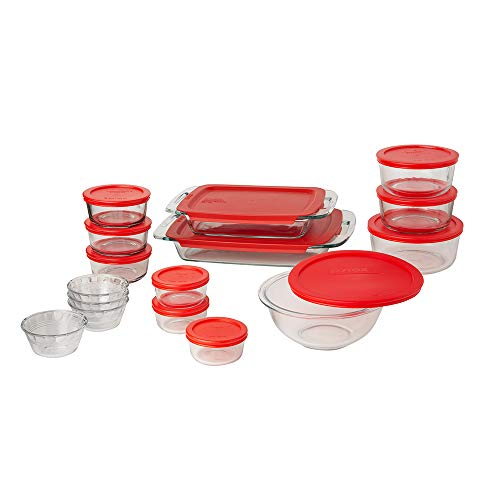 Pyrex Bake 'N Store Glass Food Bakeware and Storage Containers (28-Piece Set, BPA Free Lids)