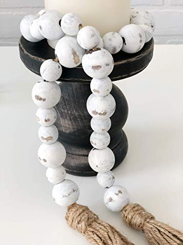 White Chippy Farmhouse Wood Bead Garland - Home Decor Beads - Rustic Decorations for Mothers Day Gift
