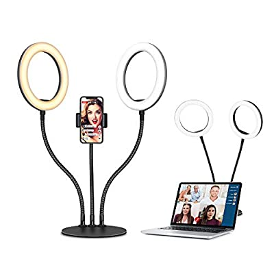 Selfie Ring Light with Tripod Stand for Desk, D...