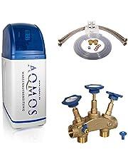 Aqmos R2D2-32 Wateronthardingsinstallatie met aansluitset 1 inch en montablok, 1 inch, wateronthardingsinstallatie voor huishoudens tot 5 personen, ontkalkingsinstallatie, anti-kalkvoorziening, ontkalker