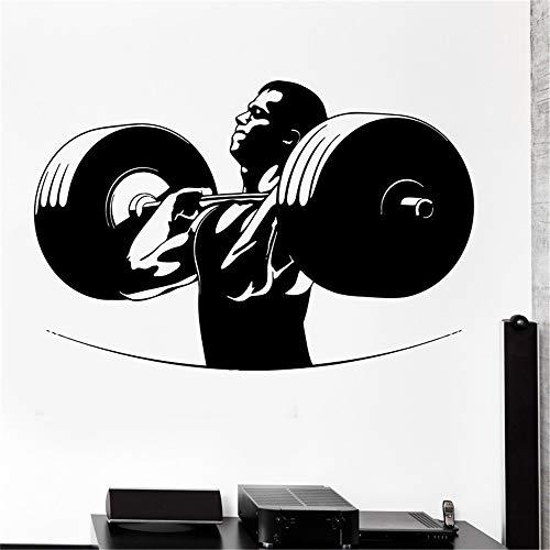 Ajcwhml Muur Sticker Sport Powerlifting Bodybuilding Barbell Crossfit Vinyl Decal Amarillo 28 x 45 cm