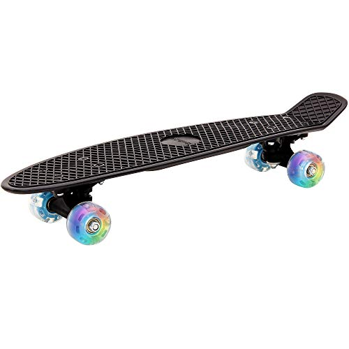 Deuba Retro LED Skateboard | Skate Pennyboard Citysurfer Board | Oldschool-Design | LED-Leuchtrollen | Schwarz