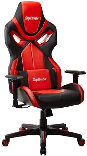 WYL Executive Recline Swivel Office Chair, Ergonomic E-Sports Gaming Chair High Back Adjustable Heavy Duty Computer Desk Chair PU Leather Recliner Padded Office Chair (Color : Red, Size : A)