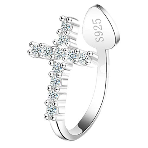 Pendiente de clip para mujer, plata 925, cruz con circonitas, piedras brillantes, piercing falso