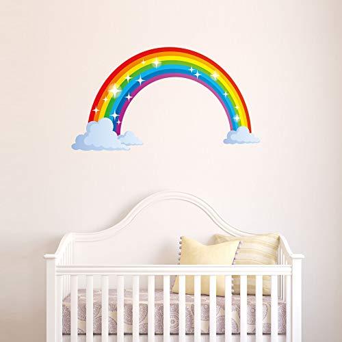 Adhesivo decorativo para pared con diseño de nube de arcoíris y nubes de niños, de PVC reflectante