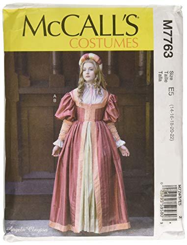 McCall's Patterns M7763 E5 Renaissance-Kleid und Rock für Damen, von Angela Clayton, Größe 42-50