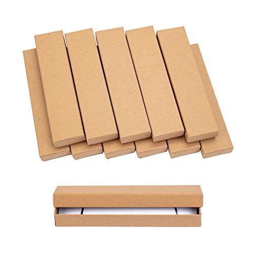 NBEADS 20 Caja de Papel Kraft Caja de Cartón Cajas de Joyería Caja de Pulsera para Collares, Pendientes Y Anillos, Rectángulo, Burlywood, 170X40X25Mm