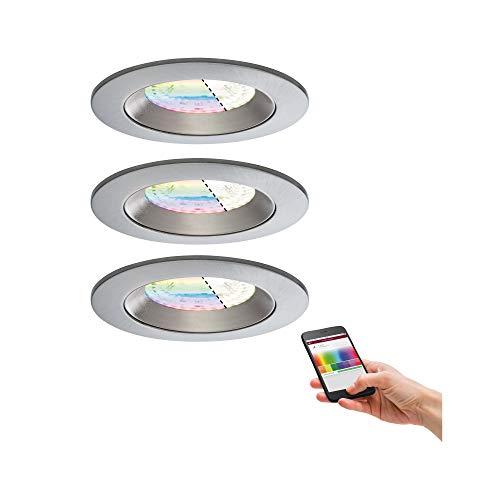 Paulmann 500.68 Smarthome Zigbee Lens LED Einbauleuchten 3er-Set IP44 RGBW Weiss matt 50068 - Amazon Echo Plus kompatibel