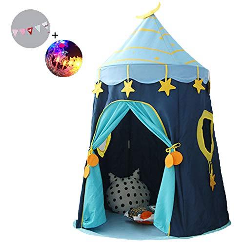 Fairy Castle Speeltent met Stervormige Verlichting en Driehoekige Vlag voor Binnen Buitengebruik Kinderen Draagbaar Opvouwbaar Cartoon Speelhuisjes Zomertent Kamp Shelter (Blauw)