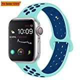 VODKER para Apple Watch Correa, Silicona Suave Reemplazo Sport Banda para 38mm 42mm iWatch Serie 3/ Serie 2/ Serie 1, Nike+, Sport, Edition - Verde Azul 38mm-M/L